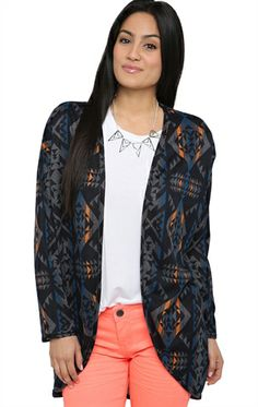 Deb Shops Long Sleeve Printed Duster #Sweater $14.63