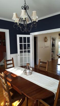 my navy dining room! the color is hale navybenjamin moore i