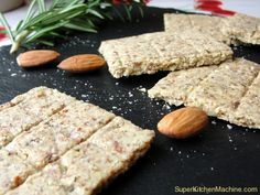 Nutty, toasty, aromatic, and VERY YUMMY gluten-free crackers. These don't last long in our house...