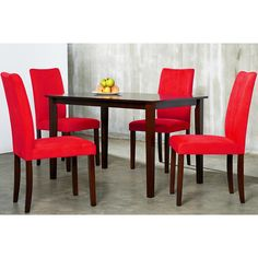 Warehouse Of Tiffanyu0027s 5 Piece Red Shino Dining Set By Warehouse Of Tiffany