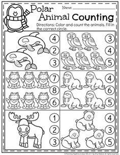 Polar Animals Preschool Counting Worksheets #arcticanimals #preschoolworksheets #planningplaytime #countingworksheets