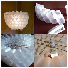 Plastic cup lamp shade. How unique is this.