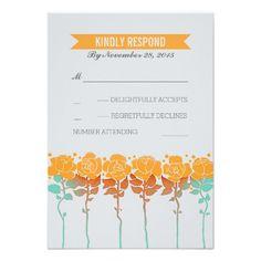Orange flowers garden wedding RSVP cards