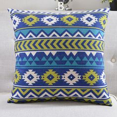 Modern Nordic blue geometric decorative pillow for couch