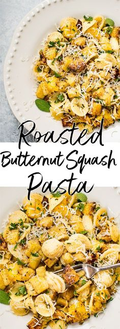 This roasted butternut squash pasta recipe is sure to become a favorite this fall! Butternut squash, warm spices, sage, and a brown butter sauce makes this easy pasta recipe a winner. #butternutsquashrecipe
