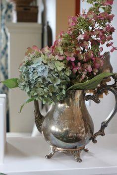hydrangeas in a tarnished silver teapot ~