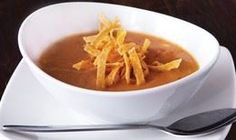 Sedona Tortilla Soup :Vine-ripened tomatoes, tomatillos, corn, mild green chilies, and Southwestern spices from California Pizza Kitchen Restaurant in Brand Blvd,Glendale #Food #Tortilla #Soup forked.com