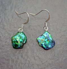 Green Opal Shell Earrings -  Small Blue, Green, Purple, Orange, and Gold Fire and Flash with Sterling Silver.