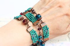 Turquoise Bracelet and Necklace in one / Bohemian by byHamelin