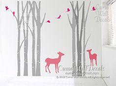 Nursery with birch tree and deer
