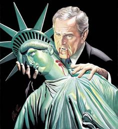 This image was so iconic and so true. It immediately caught on, the image of the Bush era. (Maybe it should have been Cheney?)