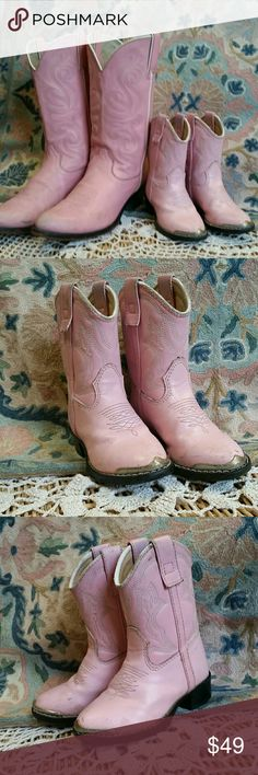 """baby doll pink western cowgirl boots youth 6.5D By Durango Youths western boot pink Tag size 6.5D. (These are tiny sole measures 6.5"""") Adorable boots match mommy's pink Durango sold separately for """"Mommy and me"""" fashion statement  Minimal wear Durango Shoes Boots"""