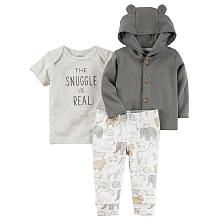 Carters 3 Piece Grey Button Down Hooded Cardigan, Grey Slogan Embroidered Top with White Printed Pant Set