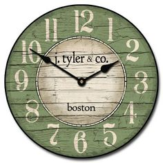 Boston Harbor Green Wall Clock Available In 8 Sizes Whisper Quiet Non Ticking