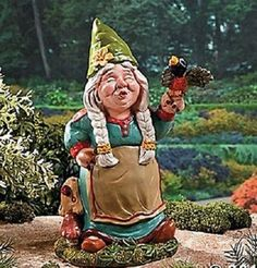 Large Female Garden Gnome with Songbird Friend ~NEW~