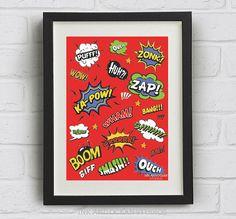 Cartoon Comic, Pop Art Print. Downloadable Art Print in red