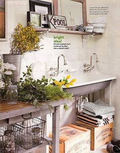 Joe added this Kohler farmhouse sink in the mudroom as a housewarming gift to his wife. Bright idea: Ornate brackets turn reclaimed lumber into a stylish shelf. Kohler Sink, Home Design, Interior Design, Design Ideas, Laundry Room Inspiration, Reclaimed Lumber, Mudroom, Home Renovation, Nooks