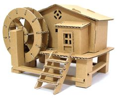 China DIY Model Toy - Watermill, Find details about China Diy Paper Toy, Baby Toy from DIY Model Toy - Watermill - Suzhou Magic Kids Creative Design Co. Cardboard Model, Cardboard Box Crafts, Cardboard Playhouse, Cardboard Sculpture, Cardboard Crafts, Cardboard Furniture, Foam Crafts, House Template, Glitter Houses