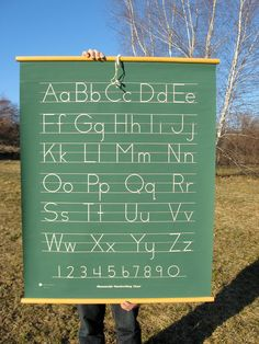 Vintage Classroom Alphabet Hanging Chart.  Could make this using canvas and dowel rods... more durable (and cuter) than poster board.