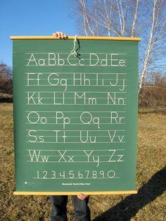 Vintage Classroom Alphabet Hanging Chart.