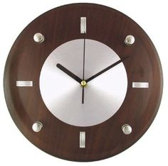Amazon.com - Timekeeper Products LLC 11-Inch Round Brown and Silver Wall Clock