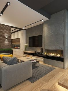 Charming Living Room Design Ideas : When it comes to your entertainment room design the best thing to do is understand what goes where, what to … Design Living Room, Living Room Tv, Living Room With Fireplace, Living Room Modern, Apartment Living, Cozy Living, Small Living, Nordic Living, Apartment Furniture
