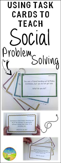 How to teach social problem solving to kids and teens with task cards. Learn how you can put these task cards on a ring and use them to discuss real life scenarios problem social skills problem solving! Social Skills Lessons, Social Skills Activities, Teaching Social Skills, Counseling Activities, Social Emotional Learning, Coping Skills, Teaching Art, Social Skills For Kids, Art Lessons