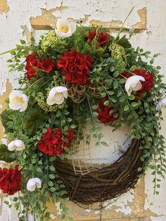 Summer Wreath for Front Door, Red Geranum Wreath, Spring Wreath, Etsy Wreath by FlowerPowerOhio on Etsy