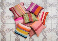 ETHNIC THROW PILLOW - Geometric decorative pillow case, colorful pillow cover, handwoven throw pillow, boho decorative pillow,Peruvian pillow   100%
