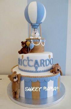 TorteBattesimo e Baby Shower Baby Boy Birthday Cake, Animal Birthday Cakes, Boy Birthday Parties, Baby Shower Parties, Torta Baby Shower, Teddy Bear Baby Shower, Beautiful Baby Shower, Fondant Toppers, Just In Case