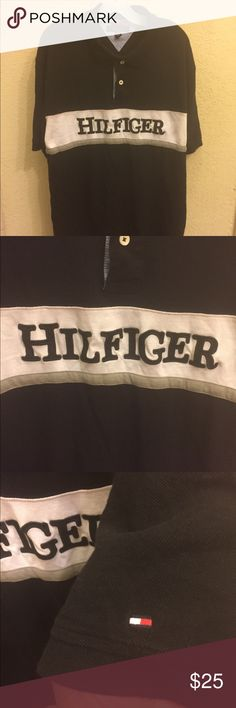 Tommy Hilfiger Spell-out Flag Logo Polo Shirt Mens Item Details: • Used: In great condition, no rips or tears. • Size: XXL • Color: Black  Shipping & Handling: • Item will ship same or next business day after completed payment is received. This excludes weekends.  Note: This item is extremely rare to find in this size and condition. Everything is 100% authentic guaranteed or your money will be refunded in full payment.  Feel free to ask me any questions. Tommy Hilfiger Shirts Polos