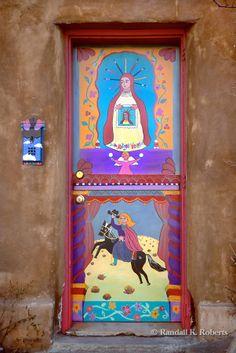 Painted door, Canyon Road arts district, Santa Fe, New Mexico COPYRIGHT:© 2011 Randall K. Roberts Joan, Sally & Sandy have been here! Cool Doors, Unique Doors, The Doors, Windows And Doors, Front Doors, Door Entryway, Entrance Doors, Doorway, Porches