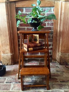Display books on an old step ladder...