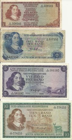 Old South African Rand currency. I remember receiving these for a birthday or Christmas present inside a card. Can& imagine posting money through the post in today& world. Mein Land, Old Money, Thinking Day, Old Coins, African History, Do You Remember, Coin Collecting, The Good Old Days, Childhood Memories