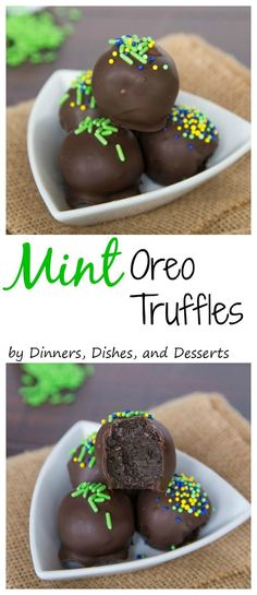 and easy truffles made with Cool Mint Oreos. So creamy and perfect for a quick dessert.Quick and easy truffles made with Cool Mint Oreos. So creamy and perfect for a quick dessert. Best Dessert Recipes, Candy Recipes, Fun Desserts, Sweet Recipes, Delicious Desserts, Yummy Food, Quick Dessert, Layered Desserts, Dinner Recipes