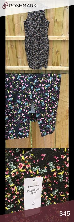 NWT - Banana Republic sheath floral print dress Beautiful floral print sheath dress. Dress has a slit on the left front side. Never worn and still has the tag. Dress is a size 16 tall. Black base color with blue, yellow and pink floral print Banana Republic Dresses