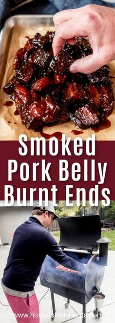 Smoked Pork Belly Burnt Ends are irresistible, juicy bites of mouthwatering meat (the same kind used to make bacon) that is rubbed in spices, infused with smoky flavor, and tossed in a fabulous barbecue sauce. Eat them as an appetizer by spearing with to Smoked Pork Belly Recipe, Bbq Pork Ribs, Pork Belly Recipes, Smoked Pulled Pork, Smoked Meat Recipes, Pork Tenderloin Recipes, Grilling Recipes, Best Pork Belly Recipe, Grilling Tips