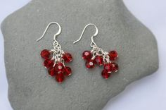 Red Czech Glass Bead Cluster Dangle Earrings