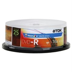 TDK Electronics DVD+R47WMFCB25 DVD+R 16X Compatible DVD+R - 25 Pack ? by TDK. $16.59. With PrintOn DVD+R 4.7GB/120 minute storage capacity, you can personalize every aspect of a disc by inkjet printing eye-catching text and graphics directly on surface. PrintOn DVD's are an easy alternative to labeling kits and marker pens. Bring precious memories to the surface with PrintOn DVD. PrintOn DVD+R is ideally suited for a variety of applications ranging from the distribution of co...