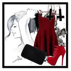 """""""Red and Black"""" by carenza-spence on Polyvore featuring GE, Sergio Rossi, Chicnova Fashion, women's clothing, women, female, woman, misses and juniors"""