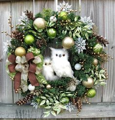 Winter Owl Christmas Wreath, Lime green, Gold, Brown, Rustic, Pine Cones, White owls, Brown burlap