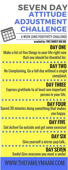 Seven Day Attitude Adjustment Challenge: Seven days to a positive mind.