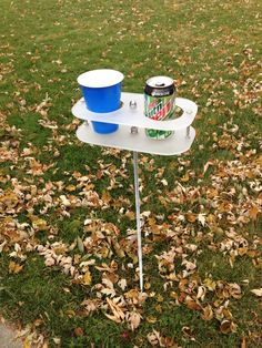 Drink holders for outdoor game play....made by my husband!!