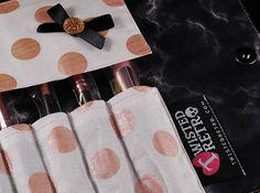 Rose gold glitter vinyl brush roll set.