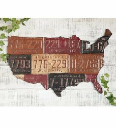"""Faux License Plate USA Map Metal Wall Art by Wind & Weather®. $39.95. Designed to look like vintage license plates. Sturdy metal construction. Faux License Plate USA Map Metal Wall Art. 34-3/4""""W x 25""""H. Celebrate America's love of the open road with our Faux License Plate USA Map Metal Wall Art. This eye-catching piece is designed to look like vintage license plates. A great gift for a car enthusiast, or a travel enthusiast! Sturdy metal construction."""