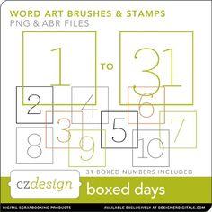 Boxed Days Brushes and Stamps - Photoshop Brushes DesignerDigitals