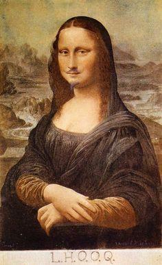 দাড়ি নারী মোনা বৌদি Marcel Duchamp. L. H. O. O. Q. or La Joconde (1964); First conceived in 1919.