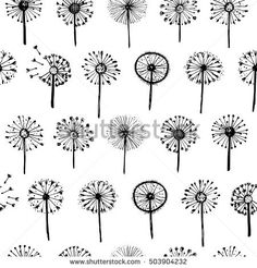Abstract graphic doodle patter with dandelions. Decorative Elements for design, dandelions