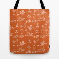 Toile Orange Unicorn Tote Bag
