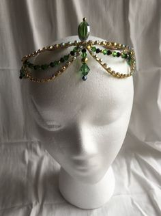 Professional Ballet Tiara Headpiece Gold Green Black Esmeralda Gypsy AB Crystals #Handmade #Tiara
